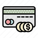 card, coins, finance, money, payment icon