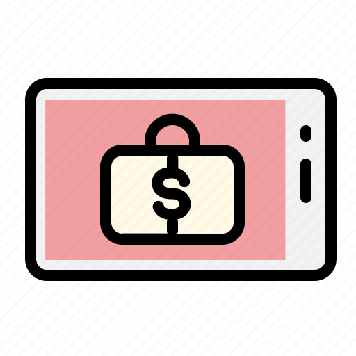banking, business, case, finance, financial, funds, smartphone icon
