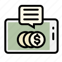 coins, finance, marketing, mobile, money, smartphone, trading icon