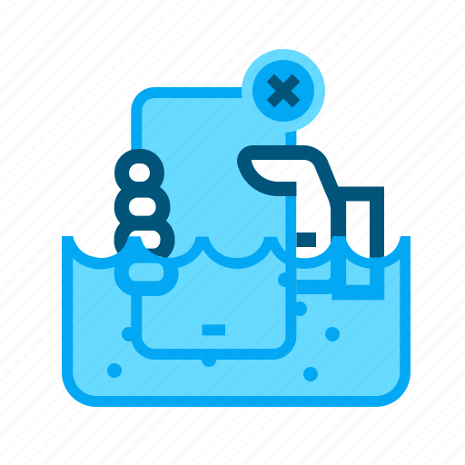 break, not waterproof, not watertight, phone, under water, user manual icon