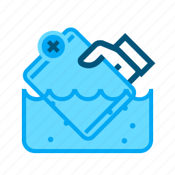 break, ipad, manual, not waterproof, not watertight, tablet, under water icon