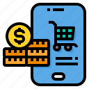 cart, coins, mobile, payment, shopping