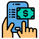 list, mobile, money, online, payment, shopping