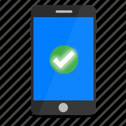 check, install, mobile, phone, setup, success, tick icon