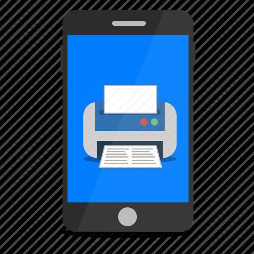 mobile, phone, print, printing icon