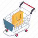 shopping bucket, shopping carriage, shopping cart, shopping chariot, shopping trolley icon