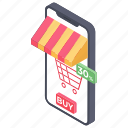 ecommerce, mobile shopping, online buying, online purchasing, online shopping icon
