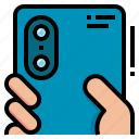 camera, dual, mobile, phone, technology icon