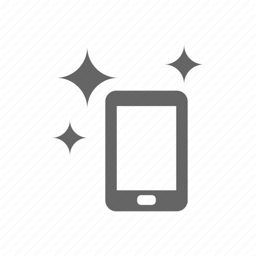 clean, pad, phone, smart phone, sparkle icon
