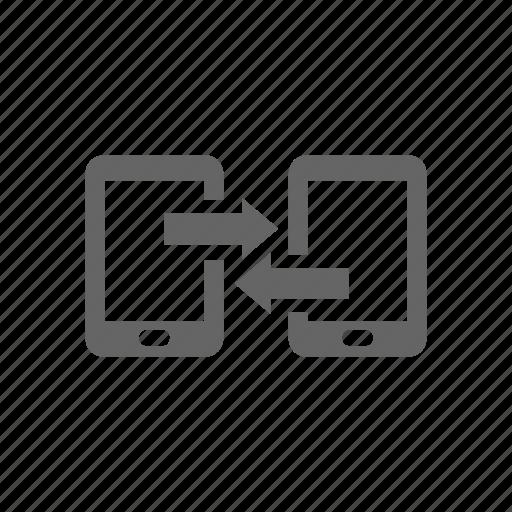 arrow, exchange, pad, phone, smart phone, sync, syncronize icon