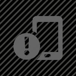 alert, mobile, pad, phone, smart phone, warning icon