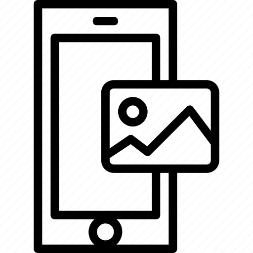 functions, gallery, mobile, outline, phone icon