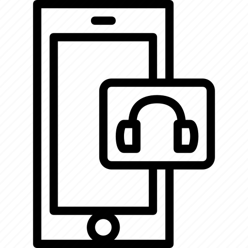 functions, headphones, mobile, outline, phone icon