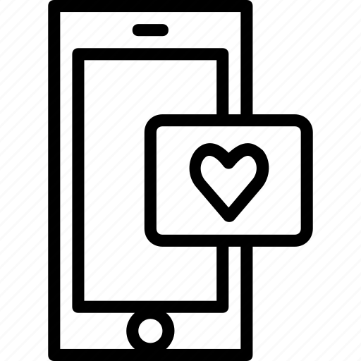 functions, love, mobile, outline, phone icon
