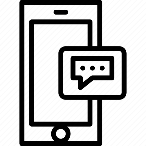 functions, messaage, mobile, outline, phone icon