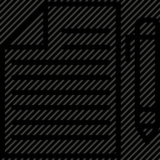 ballpen, paper, sheet, signature icon