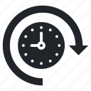 around the clock, clock, clockwise, passage of time, time left icon