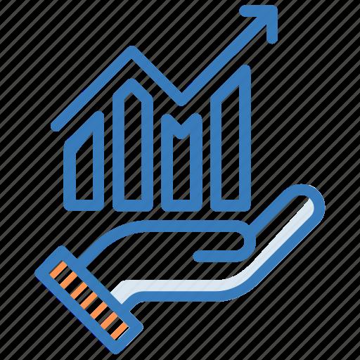 graph, growth, hand, presentation icon