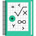 calculation, figures, formula, math, mathematics, numbers, workbook icon