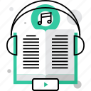 audio, book, education, language, listening, literature, repetition icon