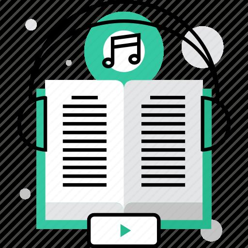 audio, book, education, language, listening, literature, repetition icon