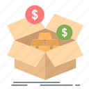 279m, box, budget, growth, money, savings icon