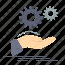 gear, hand, idea, services, solution