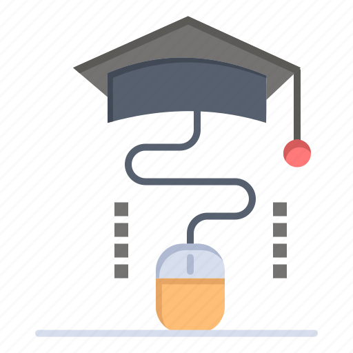 education, graduation, mouse, online icon