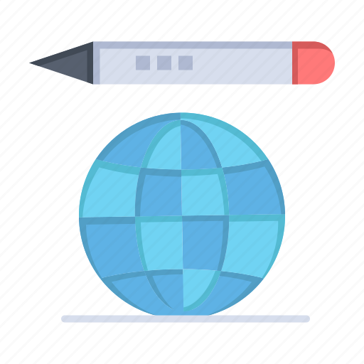 education, globe, pencil, world icon