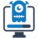 computer, infected, security, shield, spyware icon