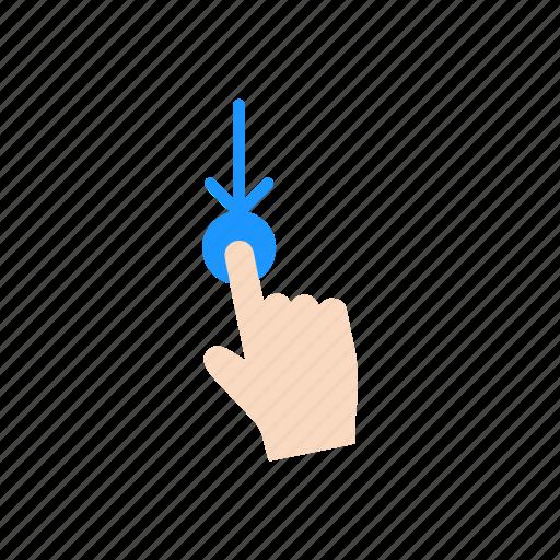 drag, hand, pointer, swipe down icon