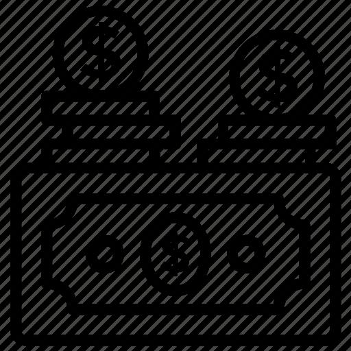 bundle of money, cash, dollar stack, finance, money icon