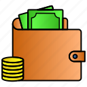 cash, coin, currency, finance, money, purse, wallet icon
