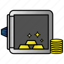 cash, currency, finance, gold, money, safe icon
