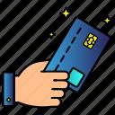 card, credit, debit, hand, limit, money icon