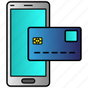 card, credit, finance, mobile, money, smartphone, virtual icon