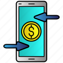 exchange, money, online, remote, reverse, smartphone icon