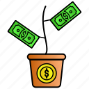 cash, currency, investment, money, plant icon