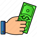 currency, dollar, hand, money, payment icon