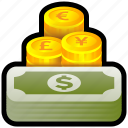 collection, currency, euro, exchange, money, pound, yen icon