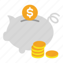 bank, banking, coin, finance, money, pig, save icon