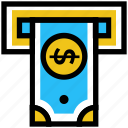 atm machine, cash, cash out, dollar, money, withdrawal icon