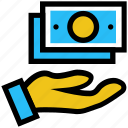 cash, dollar, hand with dollar, money, notes, notes on hand icon