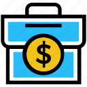 bag, brief case, cash bag, currency bag, finance, money, money bag icon