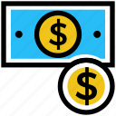 cash, coin, dollar, dollar note, finance, money, payment icon