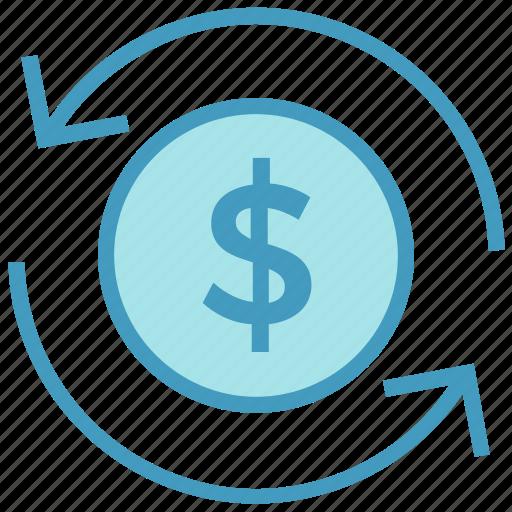 arrows, cash, coin, currency, dollar, financial, money icon