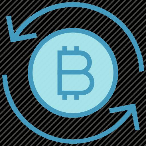 arrows, bitcoin, cash, coin, currency, financial, money icon