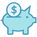 coin, dollar, finance, money, money saving, pig, piggy bank icon