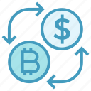 arrows, bitcoin, coins, currency, dollar, exchange, money icon
