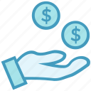 cash, coins, coins on hand, dollar, hand with dollar, money icon